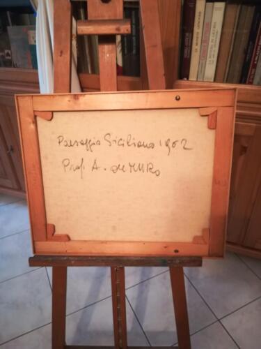 Retro tela con titolo ,data e firma