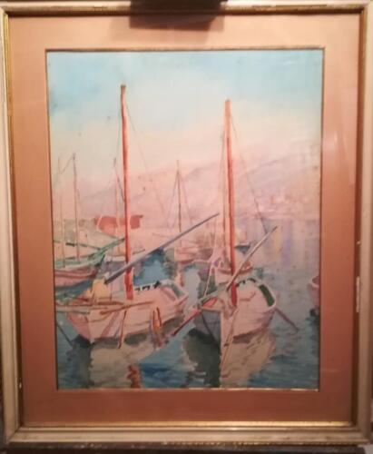 Veduta più ravvicinata dell' acquerello rappresentante due barche al porto.