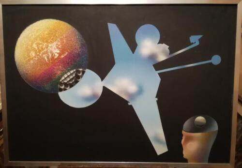 Altra veduta del quadro(lieve distacco e perdita di pittura sul pianeta Giove raffigurato)