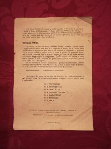 """Retro regolamento dove viene spiegato come vincere e dove vengono riportati i nomi dei 7 personaggi di legno di """"Fortunello"""", usate come pedine del gioco."""