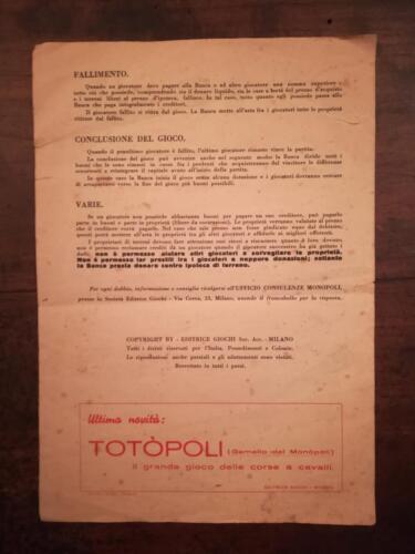 """Retro regolamento sulla quale si può vedere la pubblicità di """"Totopoli"""". (disponibile negli articoli)"""