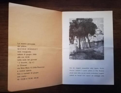 Prime pagine del catalogo dove viene illustrata parte della vita da pittore di Guido Hanset.
