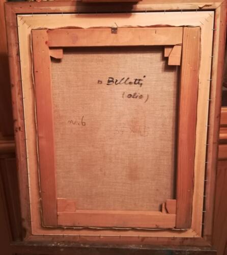 Veduta del retro della tela con firma dell'autrice. Numerato con il numero 6 e con scritte a matita le dimensioni della sola tela.
