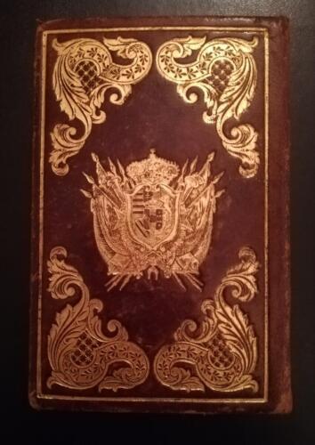 Retro della bellissima legatura in pelle marrone intera ,dell' almanacco, con fregi e stemma Austriaco d'oro.