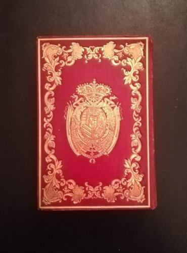 Retro della bellissima legatura in pelle rossa intera ,dell' almanacco, con fregi e stemma Austriaco d'oro.