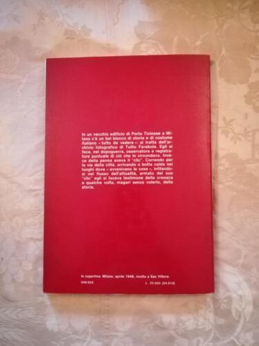 Retro del libro con descrizione dell'archivio fotografico di Tullio Farabola.