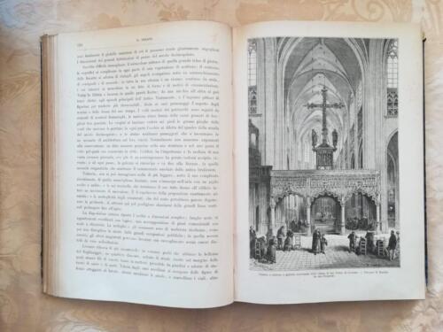 Una delle tante foto zincografiche di incisioni sul paesaggio del Belgio.Interno della chiesa di San Pietro di Lovanio.