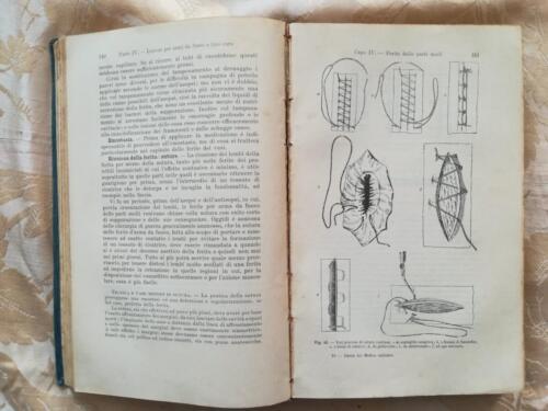 Illustrazioni di ferite delle parti molli e processi di sutura continua per la guida del medico militare.