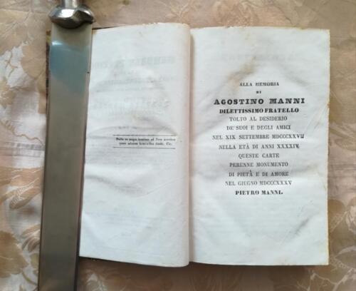 Dedica alla memoria di Agostino Manni da parte del fratello Pietro Manni.