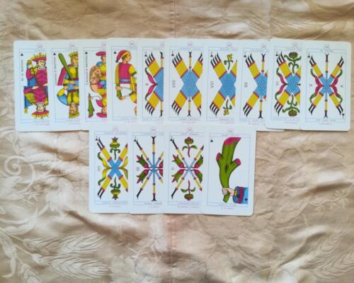 Le 14 carte del seme di Bastoni.