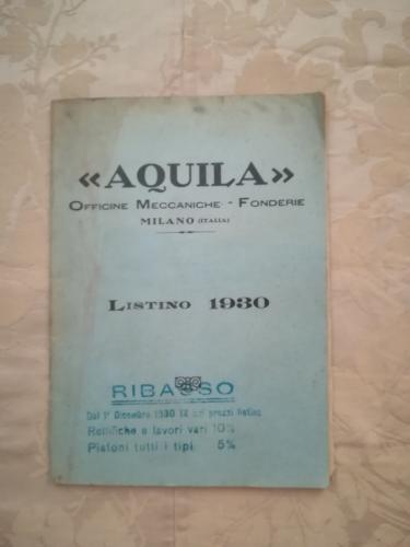 Copertina del listino del 1930.