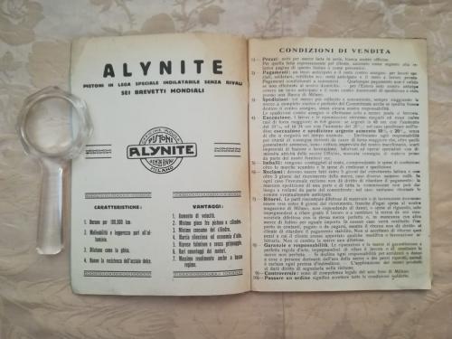 Pubblicità della Alynite e condizioni di vendita.