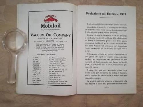 Prefazione dell'edizione del 1923 con pubblicità alla Mobil Oil.
