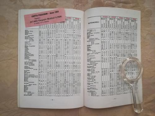 Tabelle e etichetta del rivenditore attaccata sull'opuscolo facente parte della compagnia Gargoyle Mobiloil.