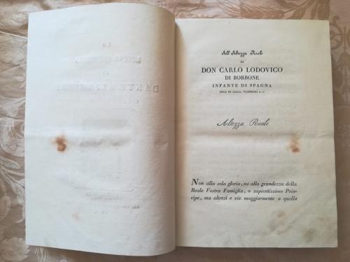Dedica all' Altezza Reale Don Carlo Lodovico di Borbone Infante di Spagna duca di Lucca, Viareggio ec. ec. .