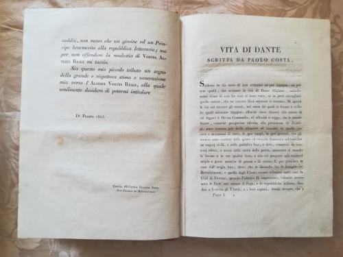 Introduzione della vita di Dante scritta da Paolo Costa e situata all' interno del volume dell' Inferno.