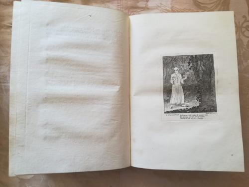 Inizio della cantica dell' Inferno con illustrazione , di una delle numerose incisioni, di Dante nella selva oscura.