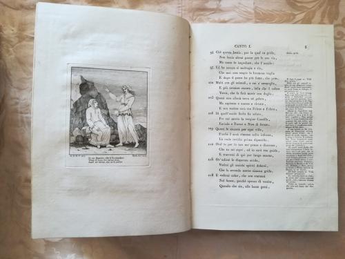 Un' altra incisione presente nel canto primo rappresentante il primo incontro con Beatrice.
