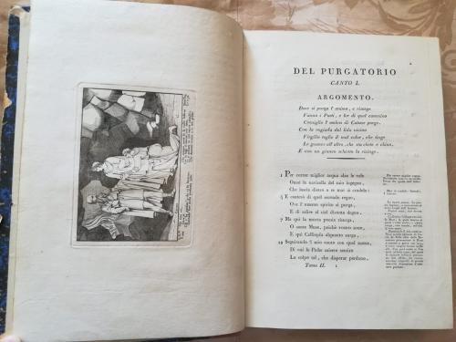 Canto primo del Purgatorio con incisione a sinistra raffigurante Dante e Virgilio fermati da Catone.