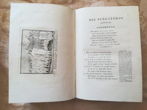 Canto secondo del Purgatorio con incisione a sinistra raffigurante Dante e Virgilio e molte anime pronte ad essere traghettate.