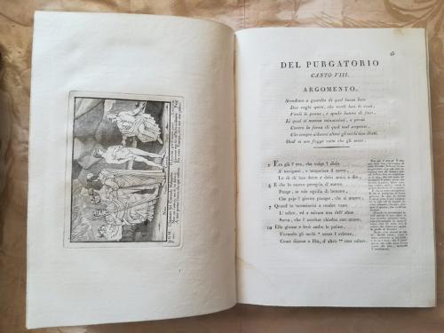 Canto Ottavo del Purgatorio con a Sinistra incisione raffigurante l'incontro DI Dante e Virgilio con Nino e Corrado.