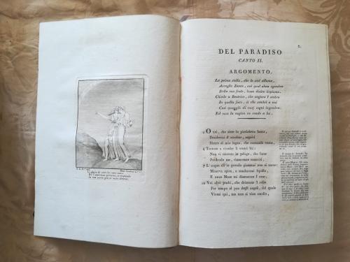 Canto secondo del Paradiso con a Sinistra incisione raffigurante Dante e Beatrice.