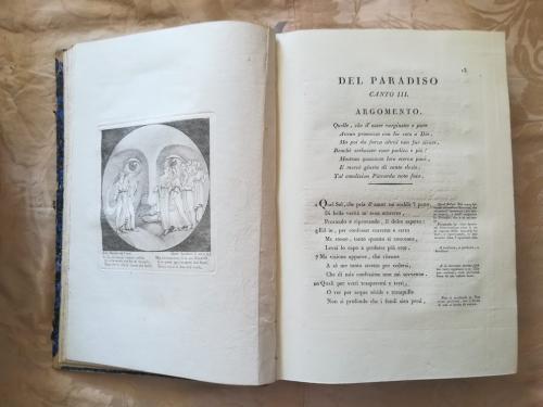 Canto terzo del Paradiso con a sinistra incisione raffigurante Dante e Beatrice nel Paradiso.