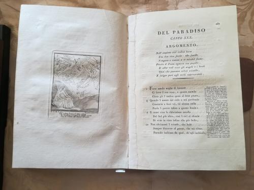 Canto trentesimo del Paradiso con a sinistra incisione raffigurante Dante e Beatrice nell'empireo ad ammirare gli angeli.