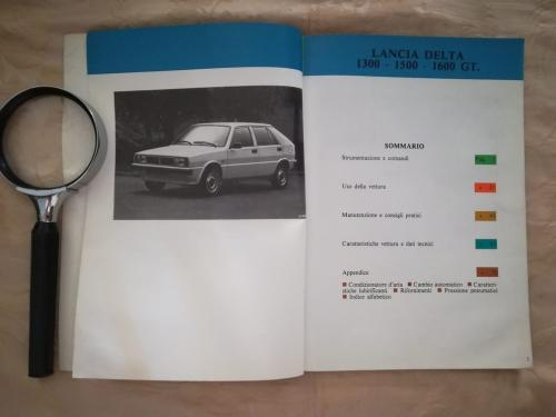 Sommario del libretto introduttivo alla Lancia Delta 1300-1500-1600 G.T. e veduta dell' autovettura in questione.