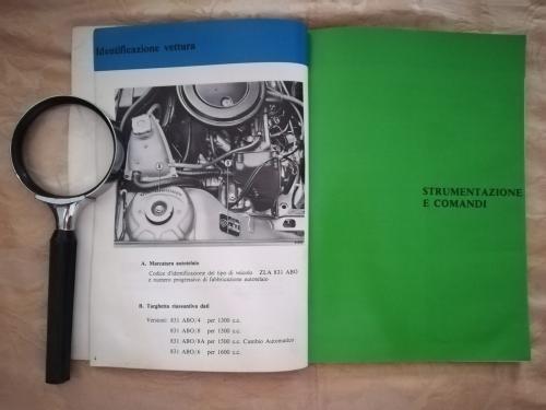 """Primo capitolo del sommario: """"Strumentazione e comandi"""". Accanto una fotografia del motore con la sua legenda."""