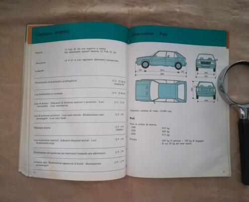 Veduta della vettura ,delle sue dimensioni , del suo peso, del suo diametro e di una tabella con tutti i valori riportati.