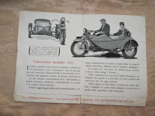 Listino modelli 1927 delle Harley Davidson e descrizioni di essi.