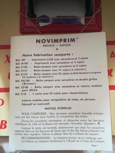 Istruzioni del Novimprim in lingua francese , spagnolo , tedesco , inglese e italiano. Istruzioni in perfetto stato.