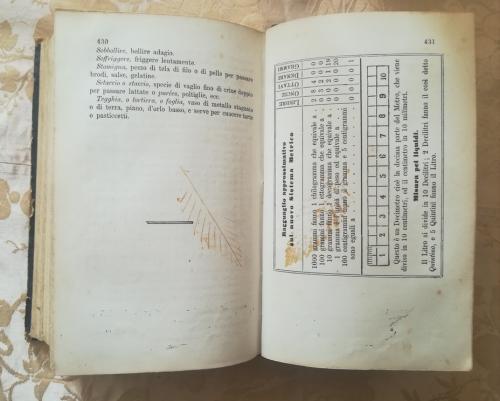 Termine del ricettario dove alla pagina di destra , è presente una tabella.