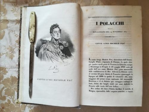 """Primo capitolo del volume primo.Prima delle numerose tavole litografiche.""""Conte Luigi Michele Pac"""" e la sua storia."""
