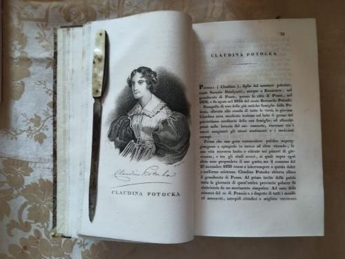 """Una delle numerose tavole litografiche.""""Claudina Potocka"""" e la sua storia."""