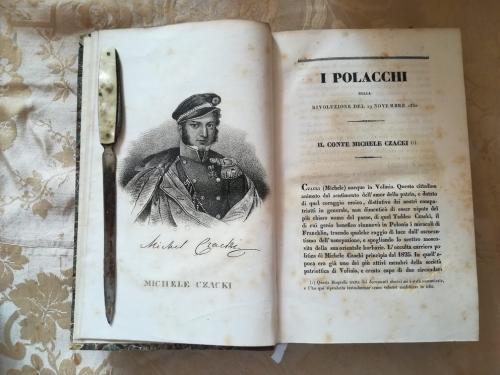 """Capitolo primo del volume secondo. La prima delle numerose tavole litografiche.""""Il Conte Michele Czacki"""" e la sua storia."""