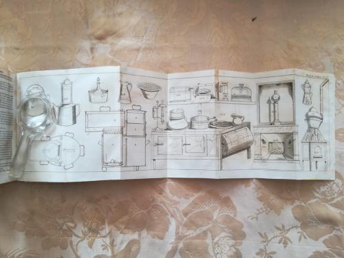 Tavola sesta aperta che presenta la mobilia da lavoro e le dispense per il cibo.