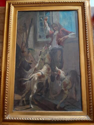 Altra veduta dell' Olio su tela del pittore Mattia Traverso con firma in basso a destra.